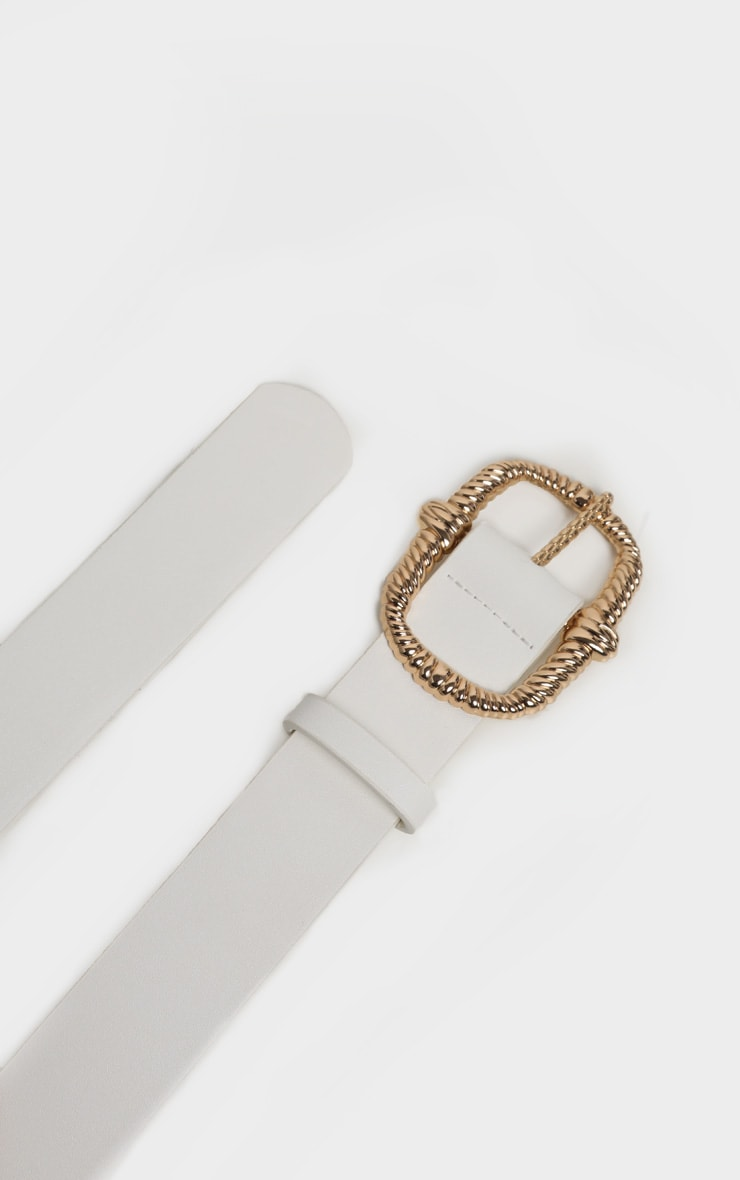 White PU Gold Large Rope Effect Buckle Belt 2