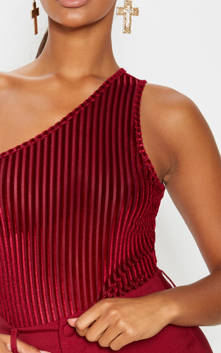 Wine Velvet Stripe One Shoulder Bodysuit 5