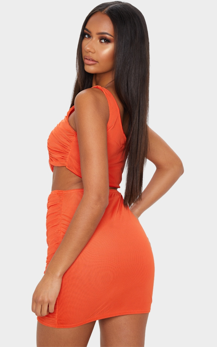 Bright Orange Ruched One Shoulder Cut Out Bodycon Dress 2