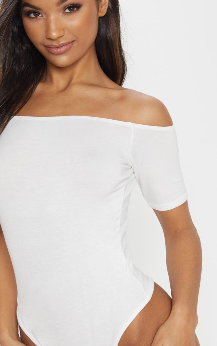 Basic body-string à manches courtes bardot crème 6