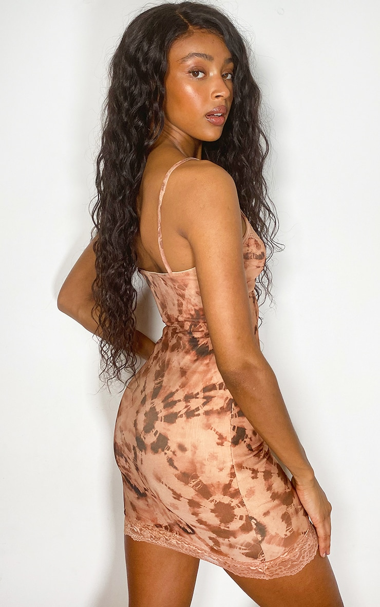 Nude Tie Dye Lace Detail Strappy Bodycon Dress 1