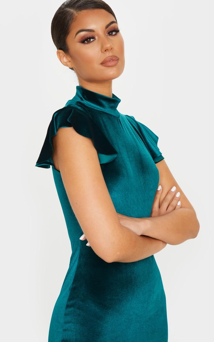 Emerald Green Velvet Short Frill Sleeve Dress Prettylittlething