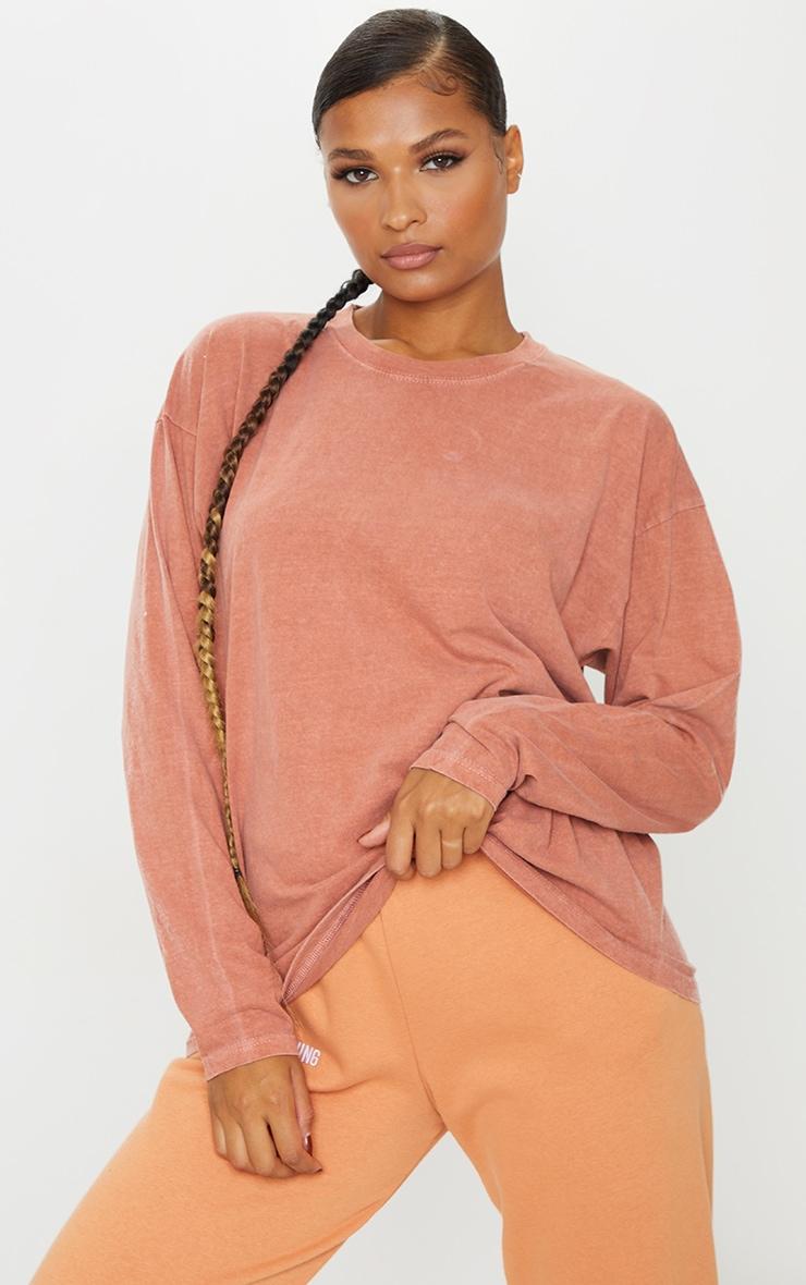 T-shirt rouille délavé à manches longues 1
