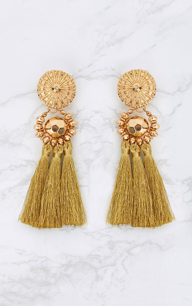 Gold Acrylic Bead Tassel Earring 3