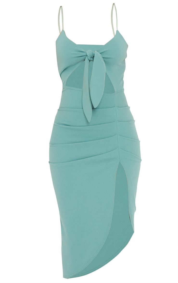 Sage Green Tie Bust Draped Midi Dress 5