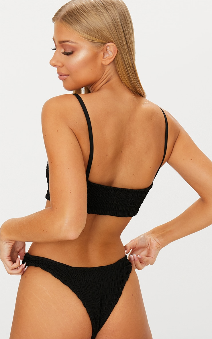 Black Crinkle Scoop Neck Bikini Top 2
