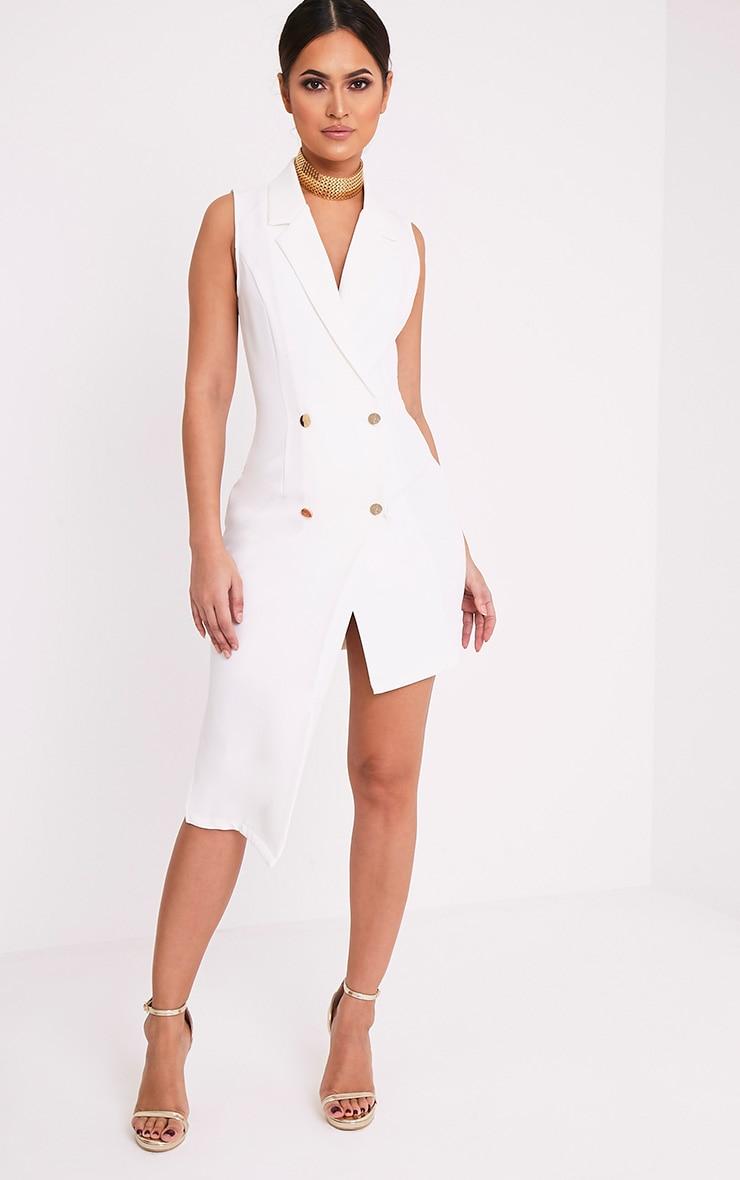 Samanthia White Asymmetric Blazer Dress 1