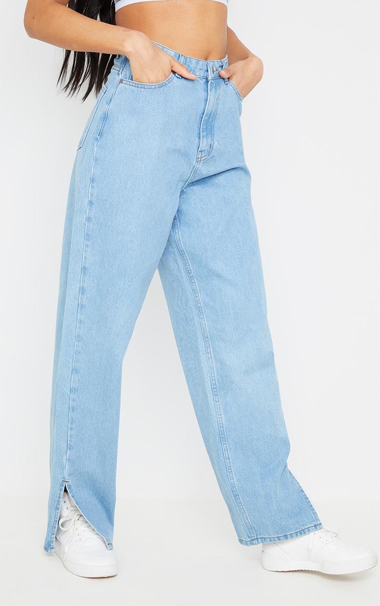 Light Blue Wash Boyfriend Split Hem Jeans 2