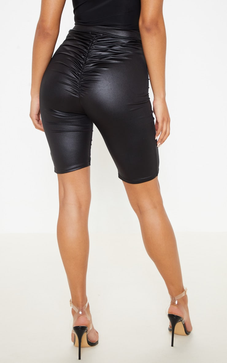 Black Wet Look Ruched Bum Cycle Short 4
