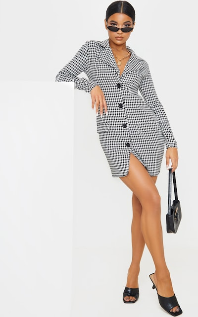 Black Monochrome Dogtooth Pocket Detail Blazer Dress