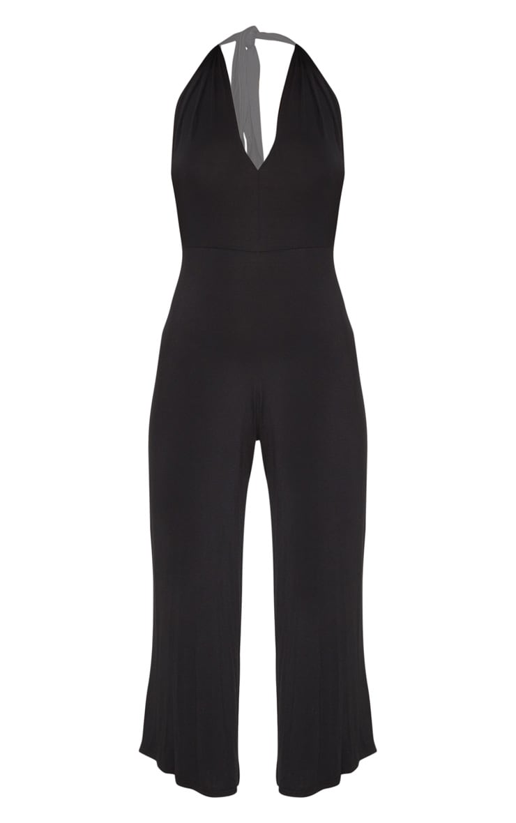 Black Jersey Halterneck Culotte Jumpsuit 3