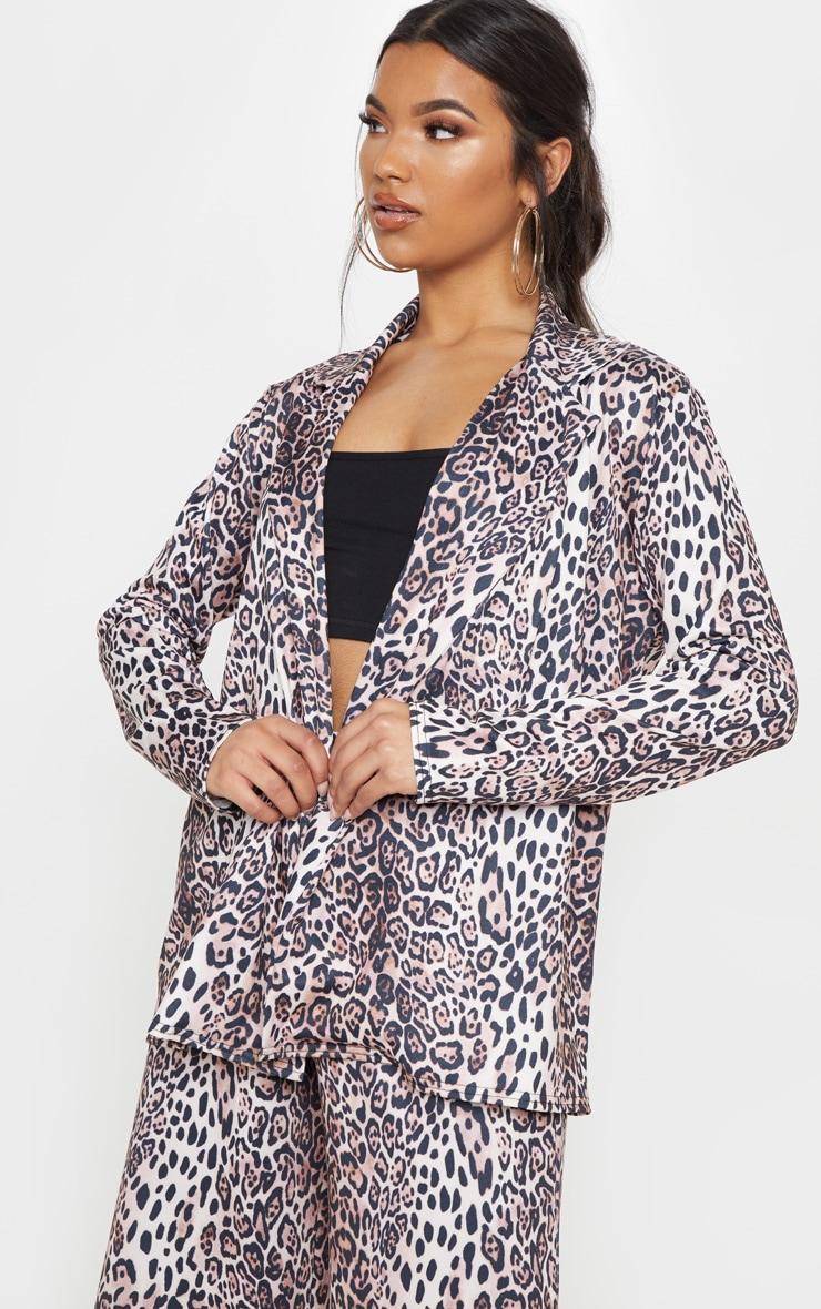 Tan Leopard Boyfriend Blazer  1