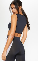 02a3fe3ba58dc6 Black Underbust Detail Gym Crop Top image 2