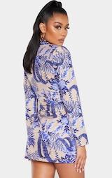 Nude Floral Wrap Detail Blazer Dress 2