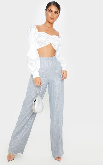 Silver Glitter Wide Leg Pleat Front Trouser