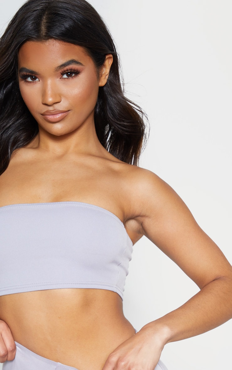 Dove Grey Crepe Bandeau Crop Top 5