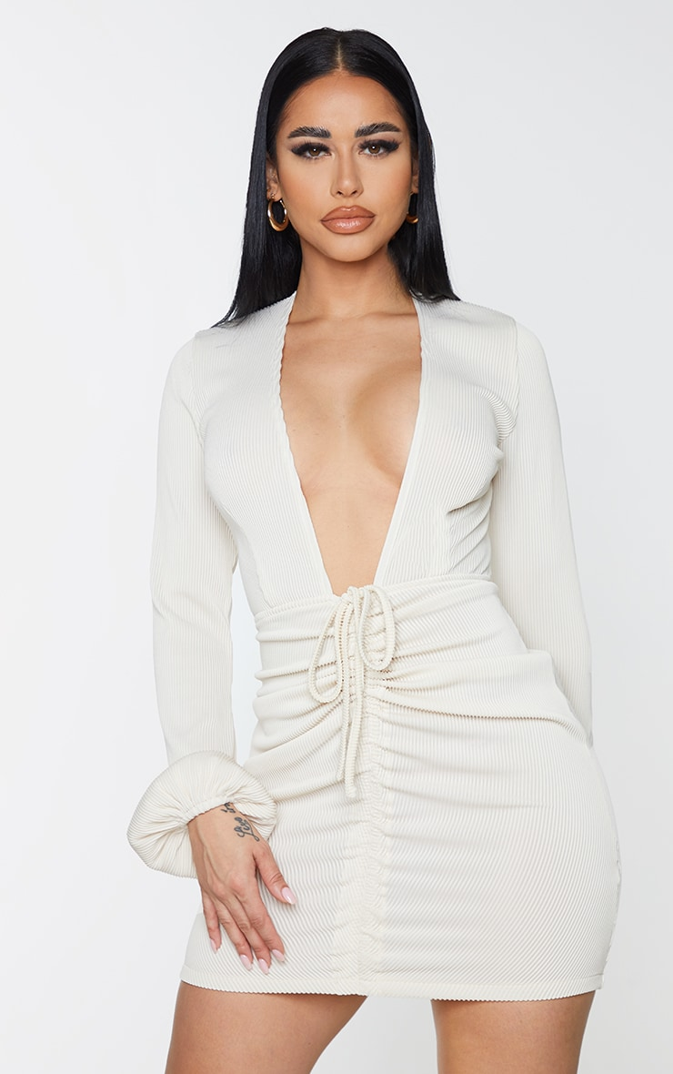 Shape Cream Rib Plunge Ruched Detail Bodycon Dress 1
