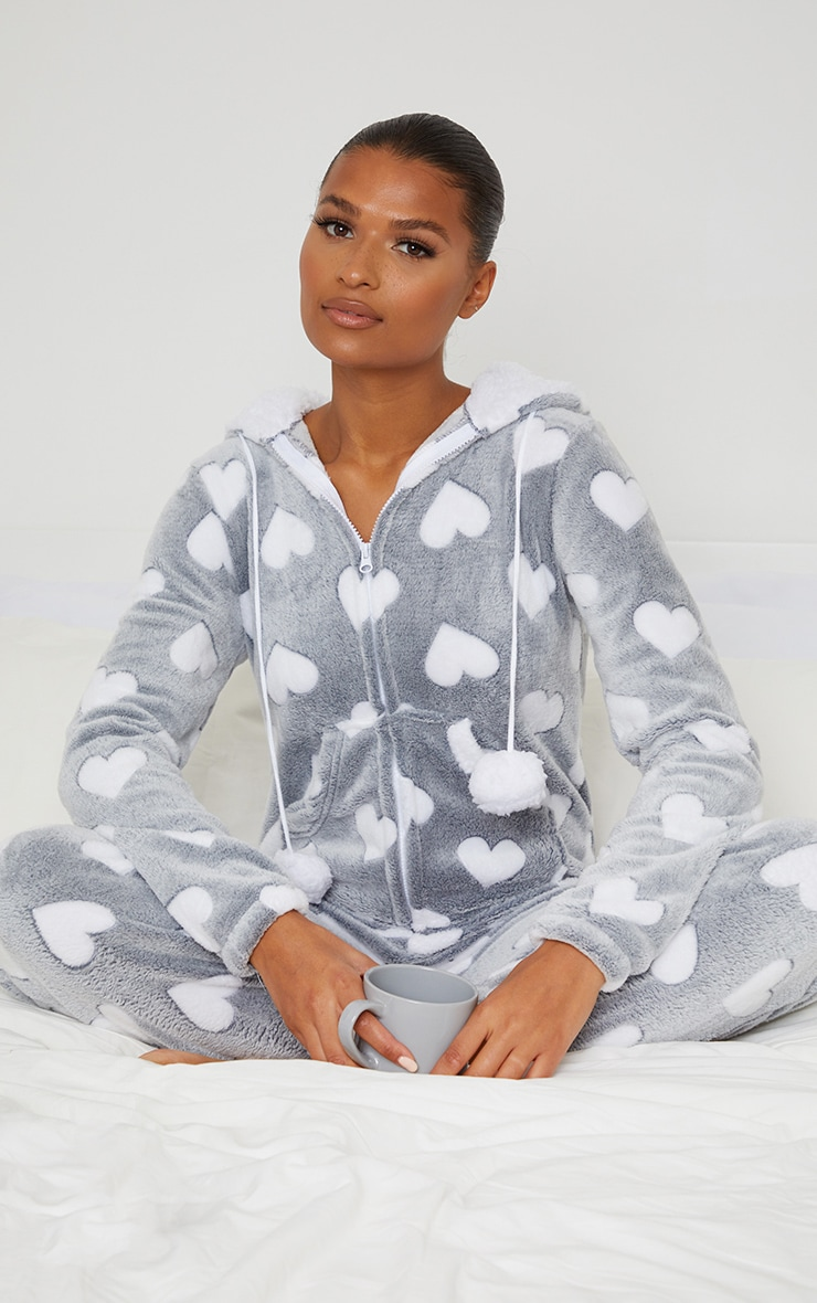Grey Heart Printed Fleece Hooded Onesie 3