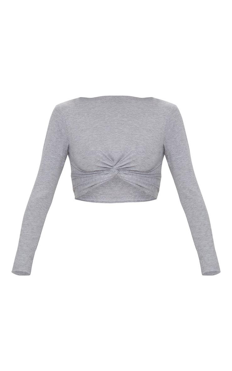 Grey Marl Jersey Long Sleeve Knot Hem Crop Top  3