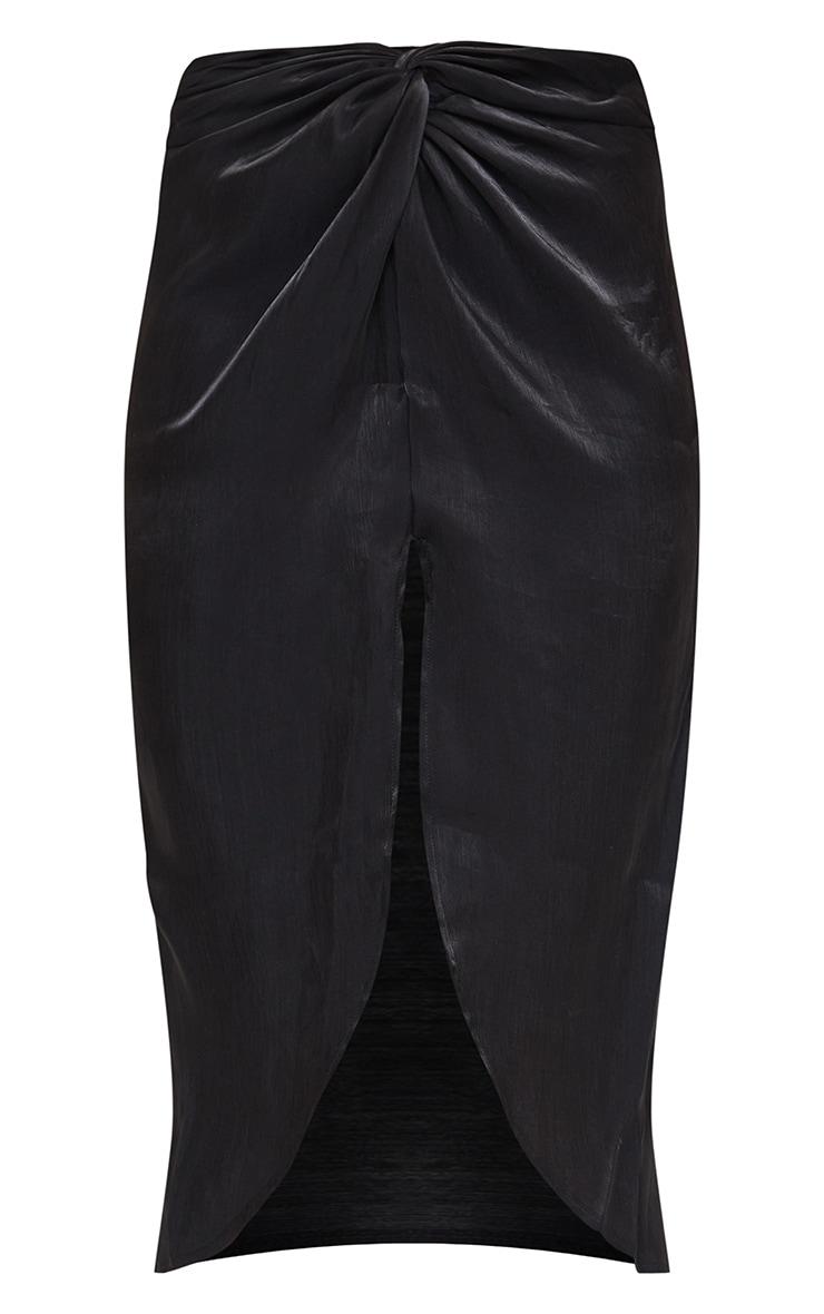 Black Satin Shimmer Twist Front Midi Skirt 5