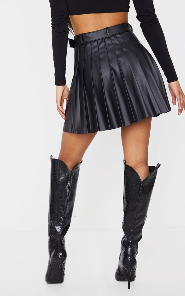 Black Faux Leather Belted Skater Skirt 3
