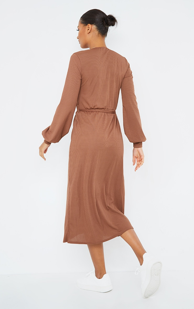 Chocolate Rib Tie Waist Long Sleeve Maxi Dress 2