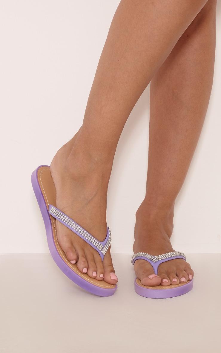 Corinne Lilac Diamante Flip Flops 1