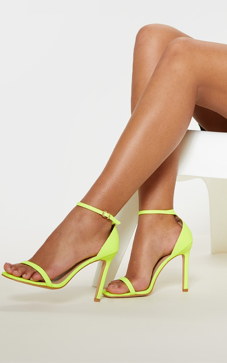 Neon Lime Thin Strap Square Toe Strappy Sandal 2