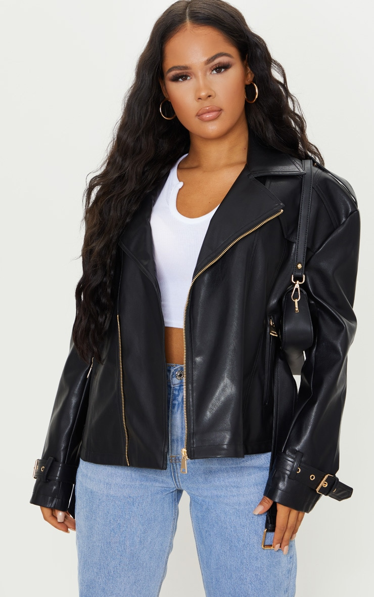 Black Faux Leather Tie Waist Biker Jacket 1