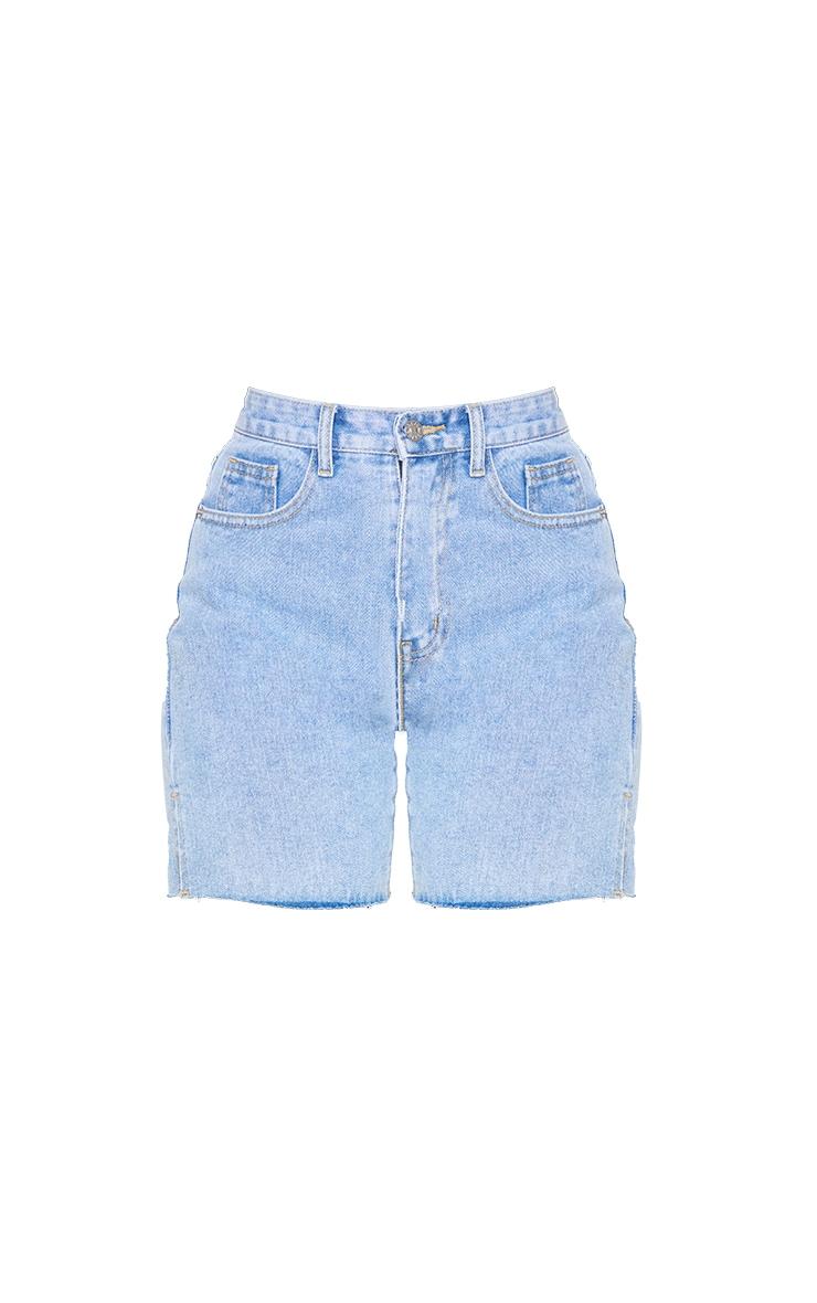 Petite Light Wash Longline Split Hem Detail Shorts 6