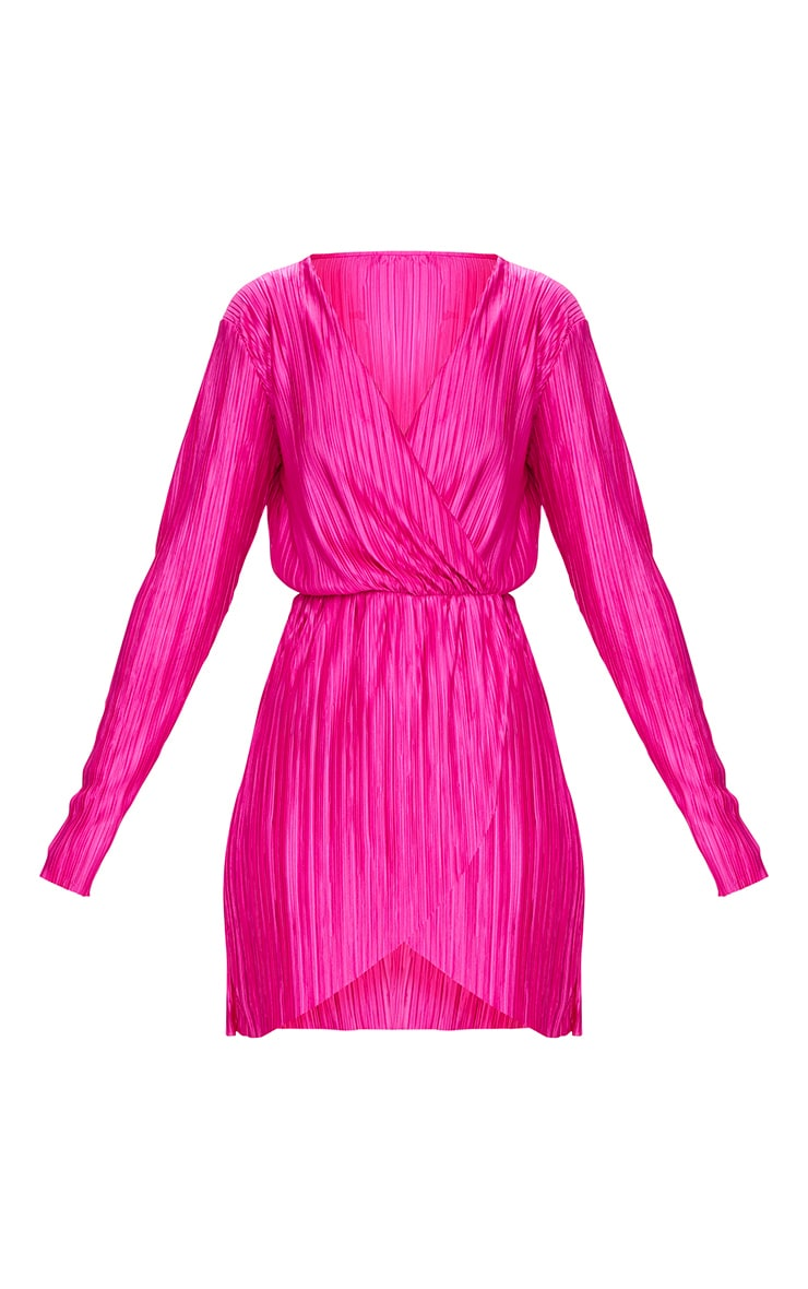 Hot Pink Long Sleeved Plunge Pleated Wrap Dress  3