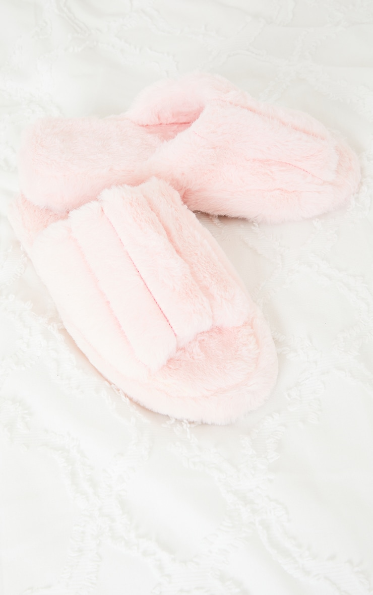 Pink Fluffy Wide Strap Slippers 4