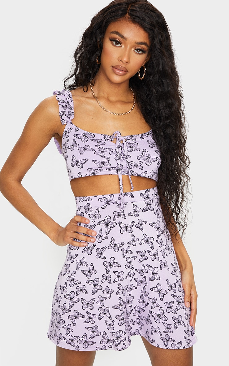 Purple Butterfly Print Floral Frill Keyhole Tie Crop Top 1