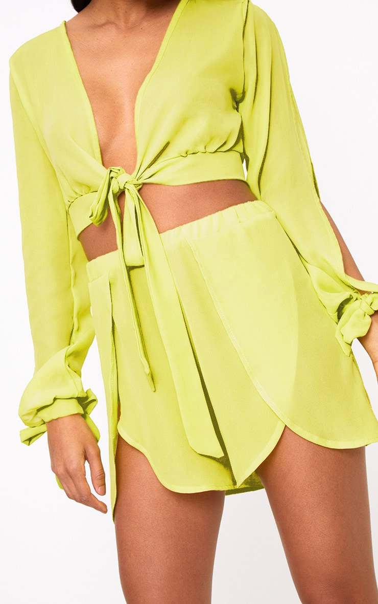 Lime Sheer Woven Open Sleeve Tie Front Top  5