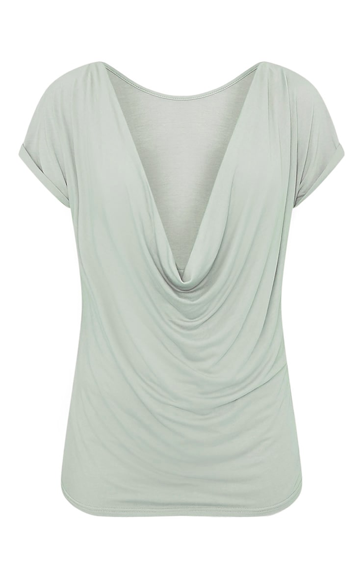 Bea Sage Green Multi Way Cowl Neck T Shirt 4