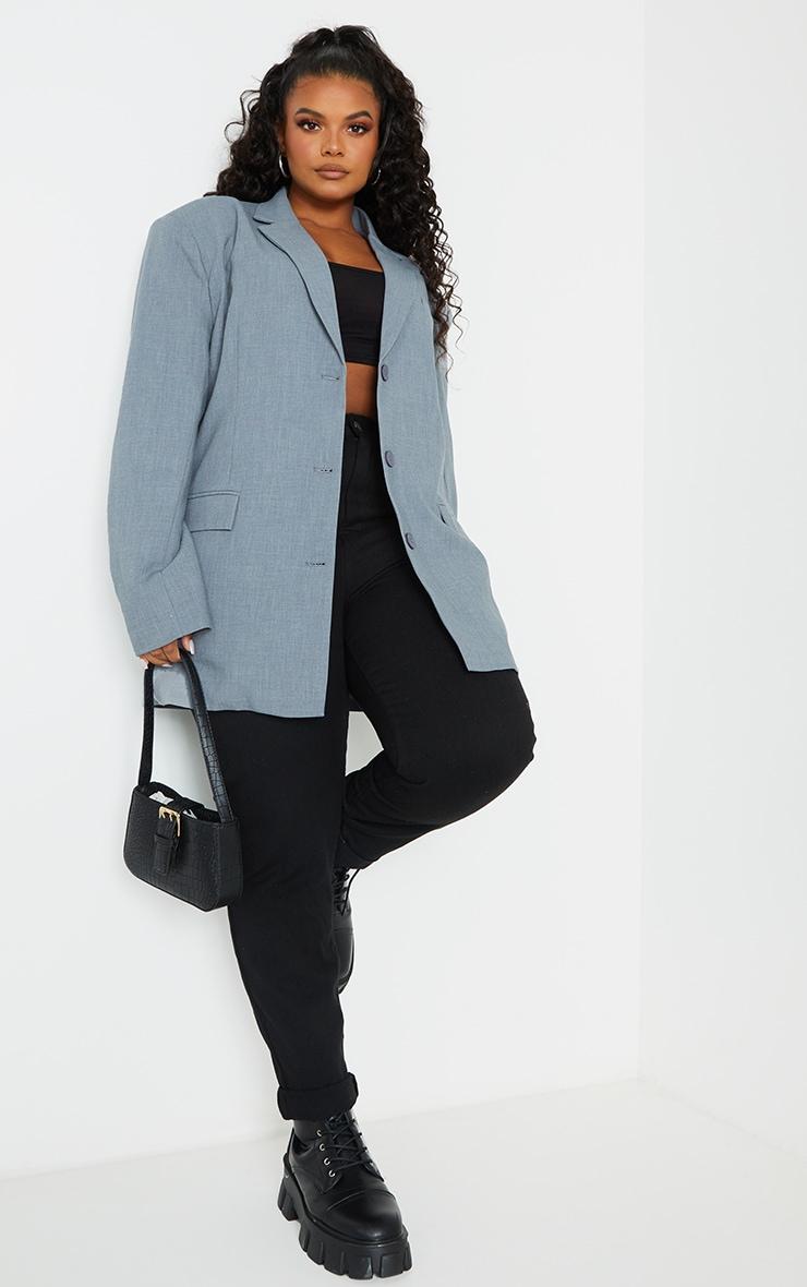 Plus Grey Woven Linen Pocket Detail Triple Button Shoulder Padded Blazer 1