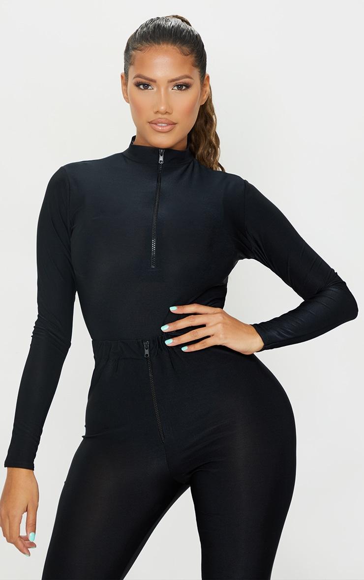 Shape Black Disco High Neck Zip Detail Bodysuit 2