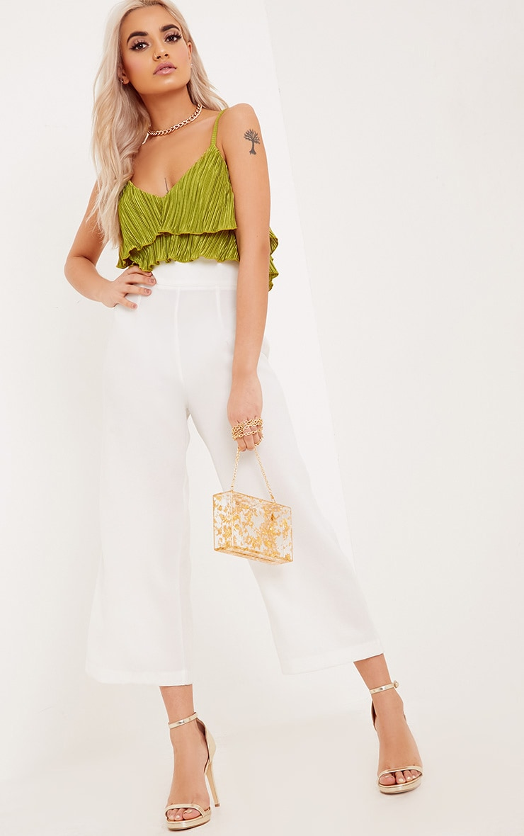 Lalla Lime Pleated Ruffle Cami Crop Top 4
