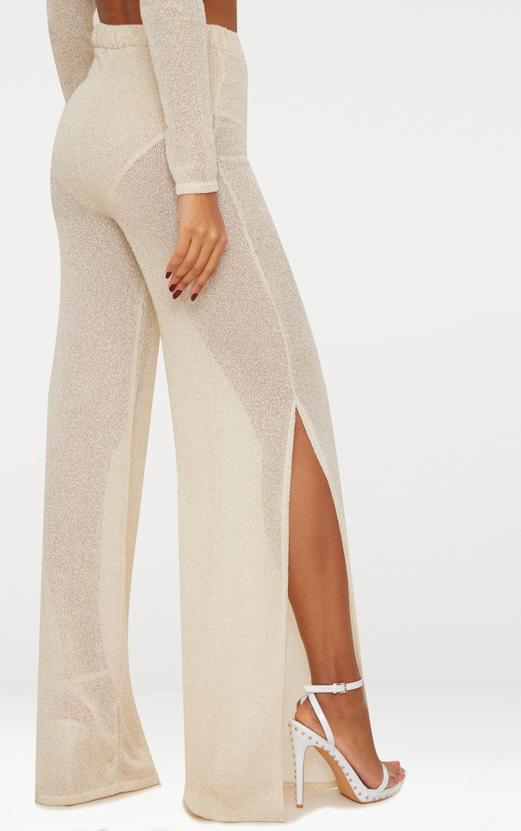 Gold Glitter Knit Flare Trouser  5