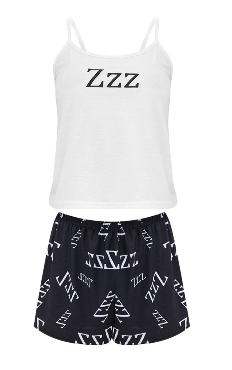 White Zzz Slogan Print Strappy PJ Set 3