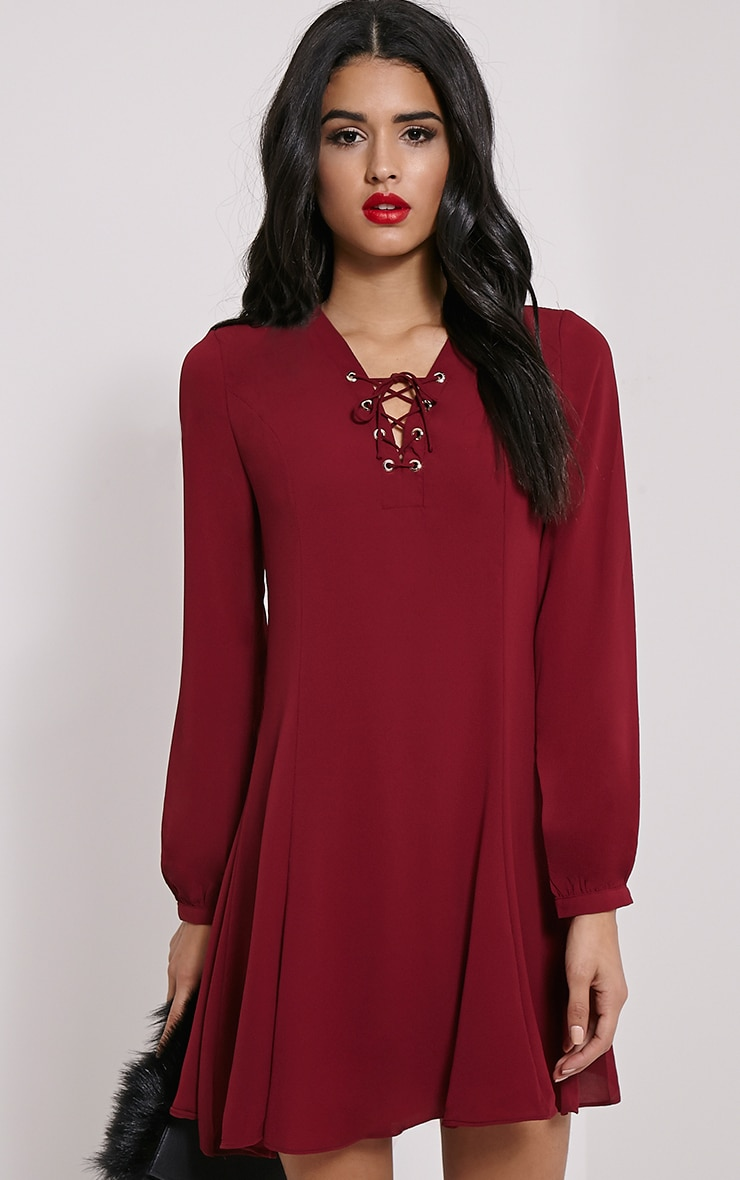 Samara Burgundy Lace Up Chiffon Dress 1