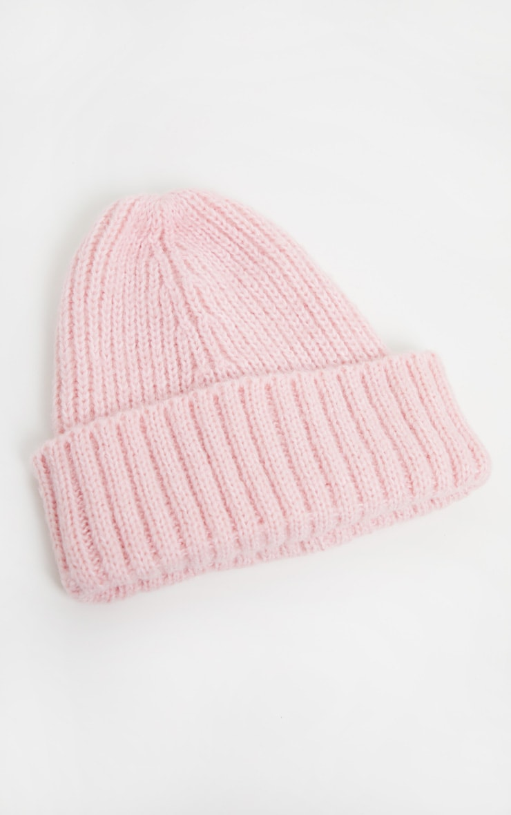 Pink Ribbed Knitted Beanie 2
