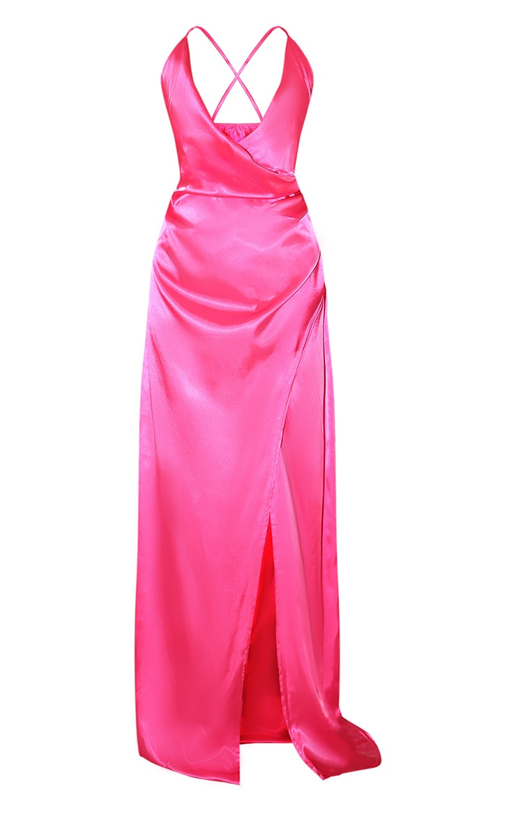 Hot Pink Satin Maxi Dress 3