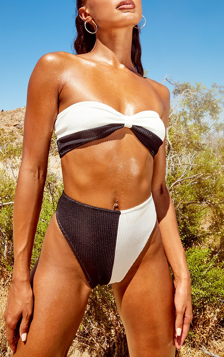 Monochrome Two Tone Crinkle High Leg Bikini Bottoms 1