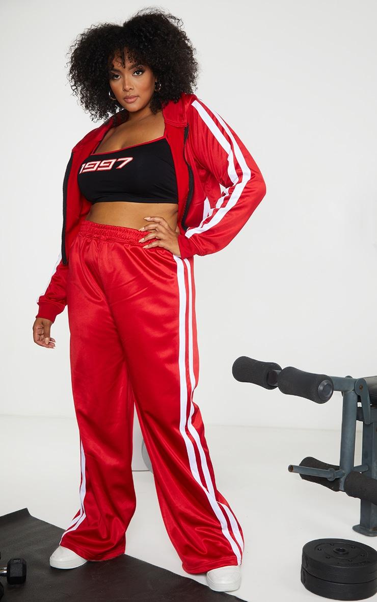 Plus Red Sports Stripe Wide Leg Joggers 1