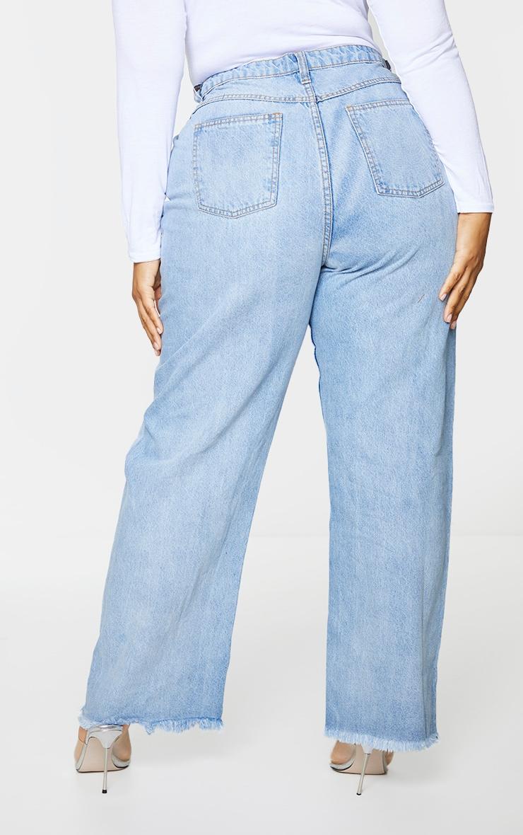 Plus Vintage Knee Rip Wide Leg Fray Hem Jeans 3