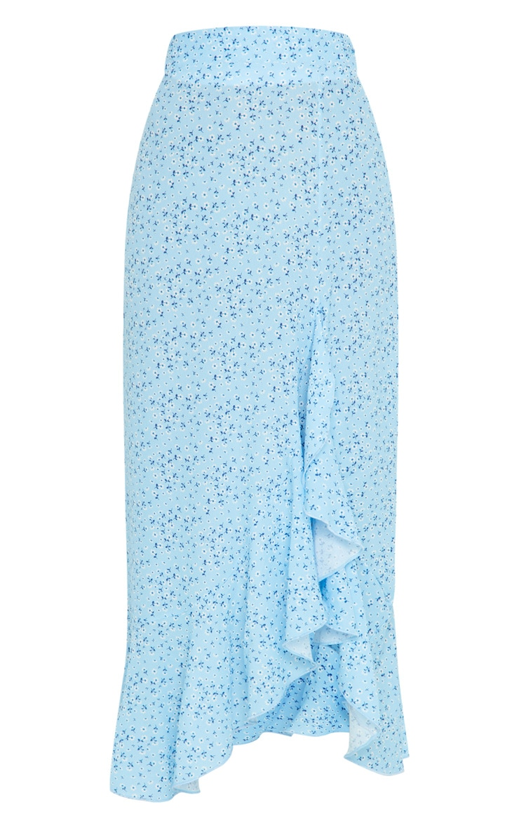 Blue Floral Frill Hem Wrap Maxi Skirt 5
