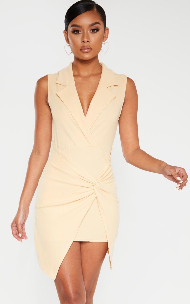 Fawn Sleeveless Twist Front Plunge Blazer Dress 4