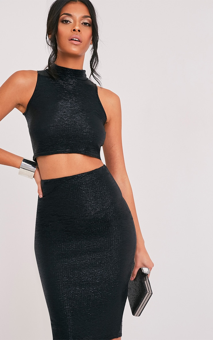 Tamera Black Metallic Crinkle Sleeveless Crop Top  1
