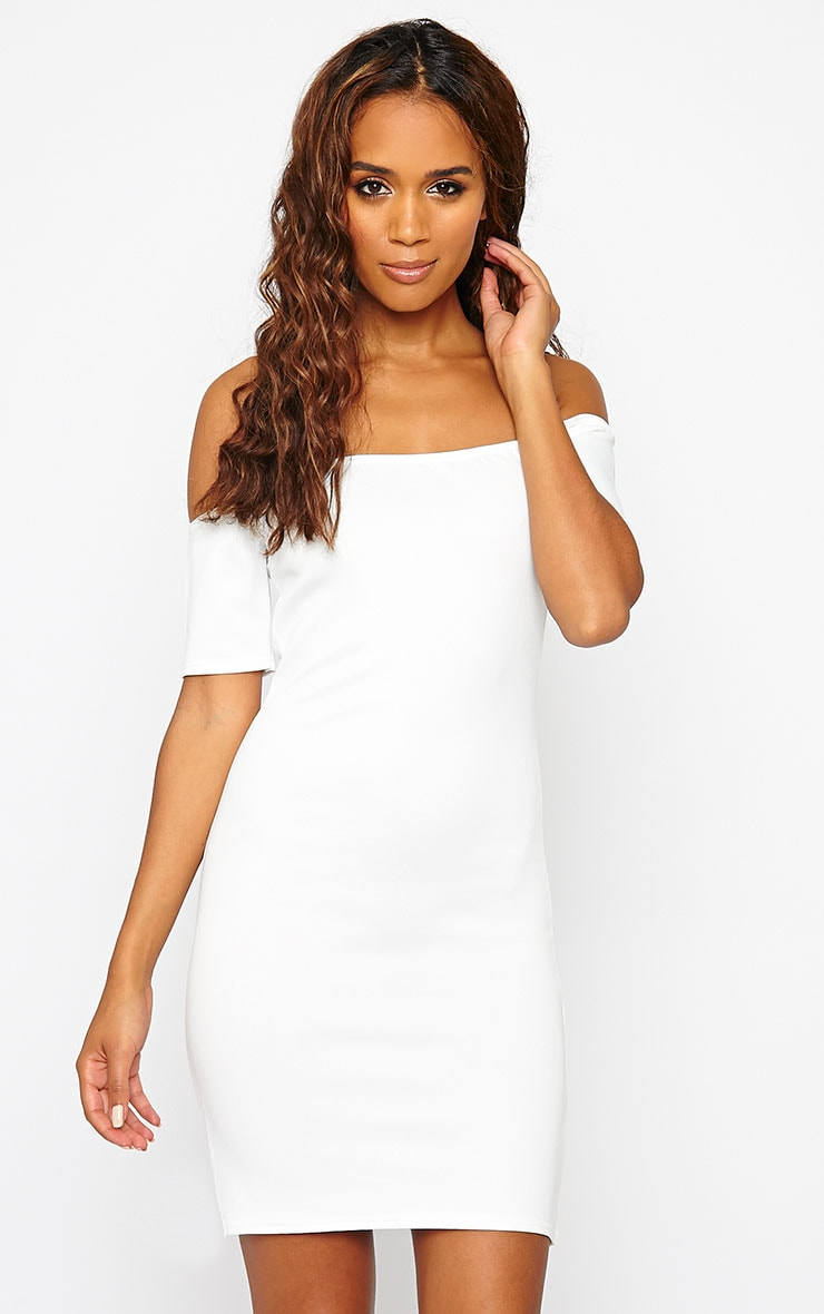 Basic Cream Bardot Bodycon Dress 1